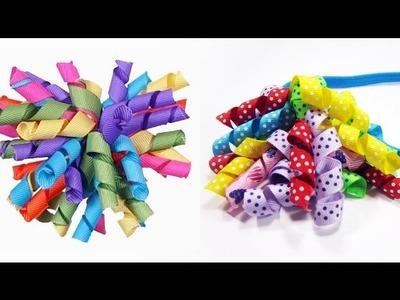 Episodio 530- Cómo hacer moños con banda para el pelo con cintas rizadas korker
