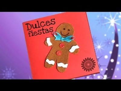 Tarjeta felicitación con muñeco de jengibre. Ideas de manualidades