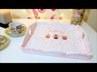 Manualidades DIY, bandeja de carton efecto craquelado - Isa ❤️