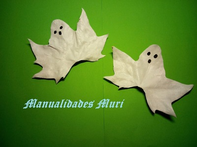 Manualidades. Fantasmas con hojas de árbol, muy fáciles para Halloween