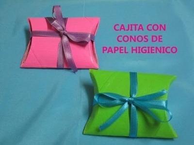 CAJITA PARA REGALOS CON CONOS DE PAPEL HIGIENICO