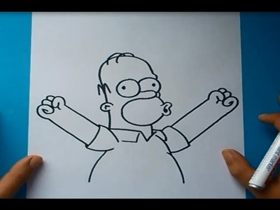 Como dibujar a Homer Simpson paso a paso 2 - Los Simpsons | How to draw Homer Simpson 2