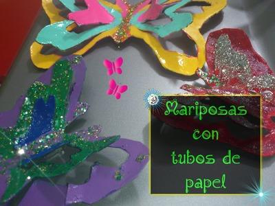 ★como hacer mariposas de papel higiénico en 3D★
