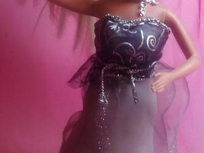 Como hacer Vestido de  fiesta para barbie sin aguja 5