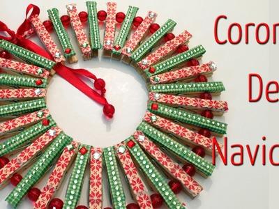 Corona de Navidad con pinzas de ropa  - Manualidades para todos
