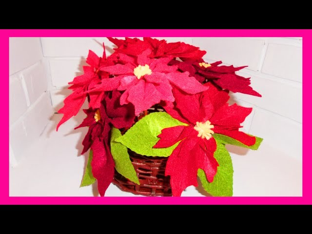 Flor de Pascua o Nochebuena de fieltro, ideas para decorar en navidad, manualidades faciles