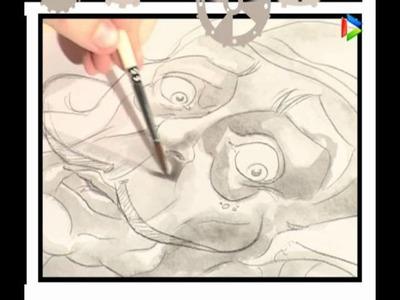 Lápiz y papel -06- Caricatura en aguada