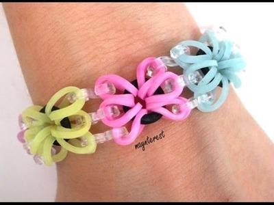 Manualidades DIY: PULSERA de GOMITAS flores mariposa | Raimbow loom bracelet
