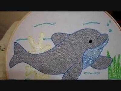 Bordado Fantasía Delfin Terminado