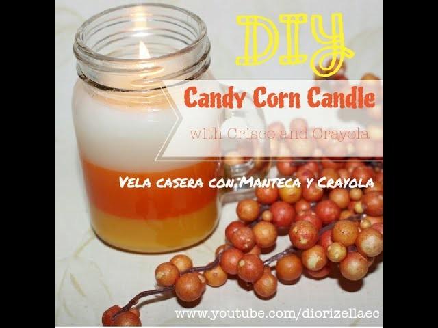 DIY Candy Corn Candle w. Crisco and Crayola. Vela Candy Corn con Manteca y Crayola