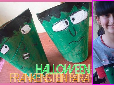 DIY ¡Cómo hacer un frankenstein para Halloween! | Manualidad con rollos de papel higienico 2015.