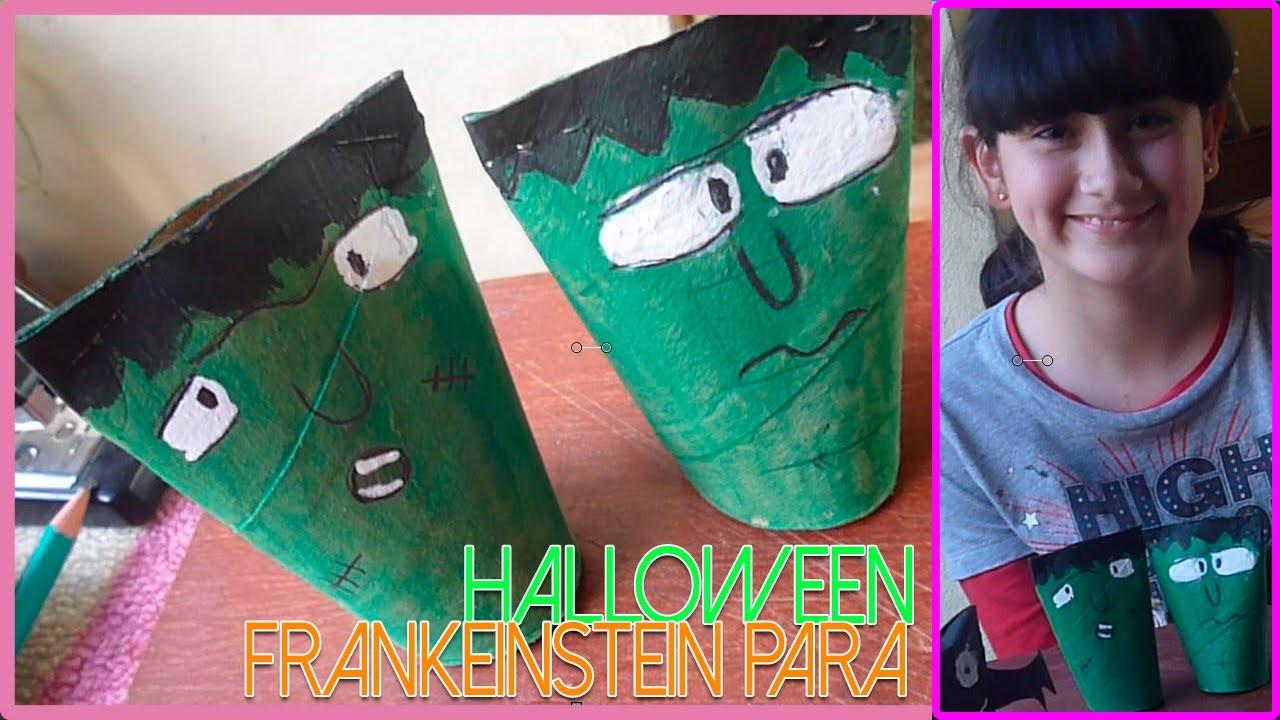 DIY ¡Cómo hacer un frankenstein para Halloween! | Manualidad con rollos de papel higienico 2015.