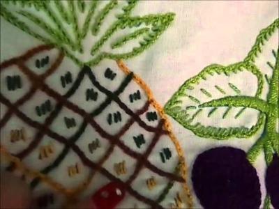 Mi muestrario de mi servilletas bordadas en cadena para recuerdos