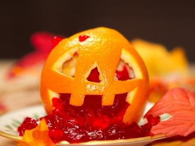 Naranjas Jackolantern de Halloween Rellenos de Jello y Helado Postre PASO a PASO
