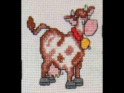 DIY Cómo bordar una vaca en punto de cruz