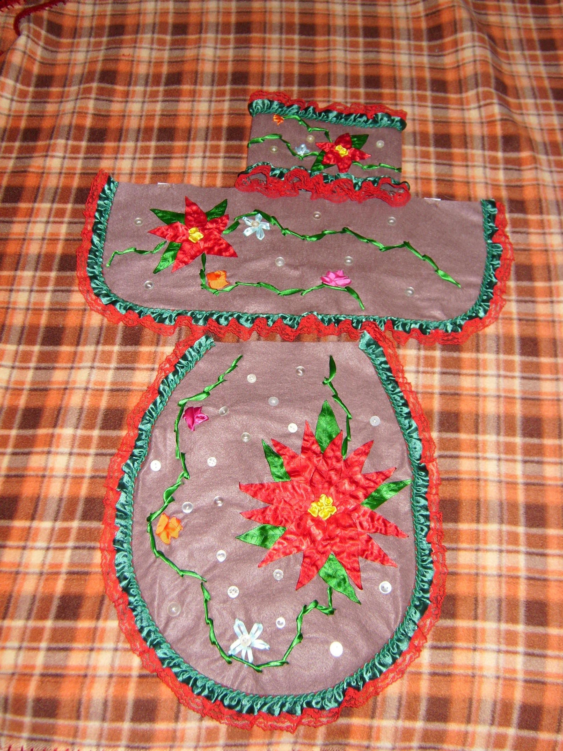 DIY Juego de baño bordado en listón para esta Navidad  4 de 4