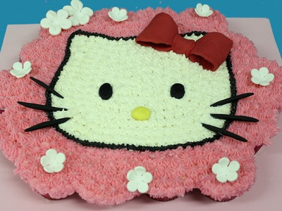 Hello kitty con quequitos o cupcakes. Hello kitty cupcake cake
