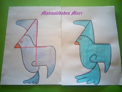 Manualidades. Aprende a dibujar con números: Paloma con el 4