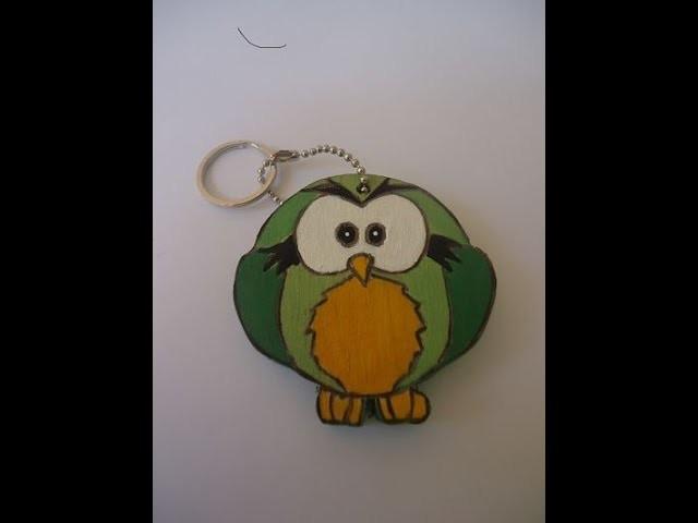 Manualidades en Madera   Como Hacer un Llavero de Buho en Madera - (How Make an Owl Wood Keychain)