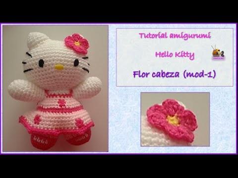 Tutorial amigurumi Hello Kitty - Flor cabeza (mod-1)