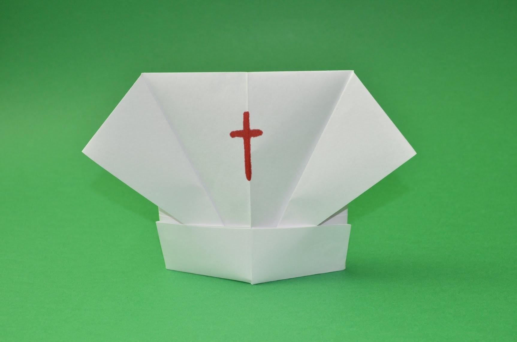Como hacer un gorro de enfermera de papel facil