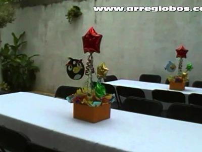 Decoración con globos angry birds