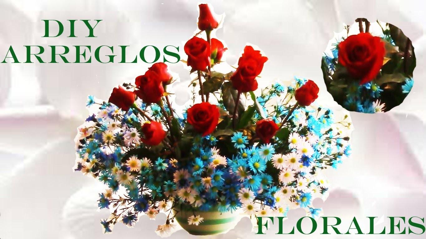 DIY arreglos de rosas rojas naturales - arrangements of red roses and blue