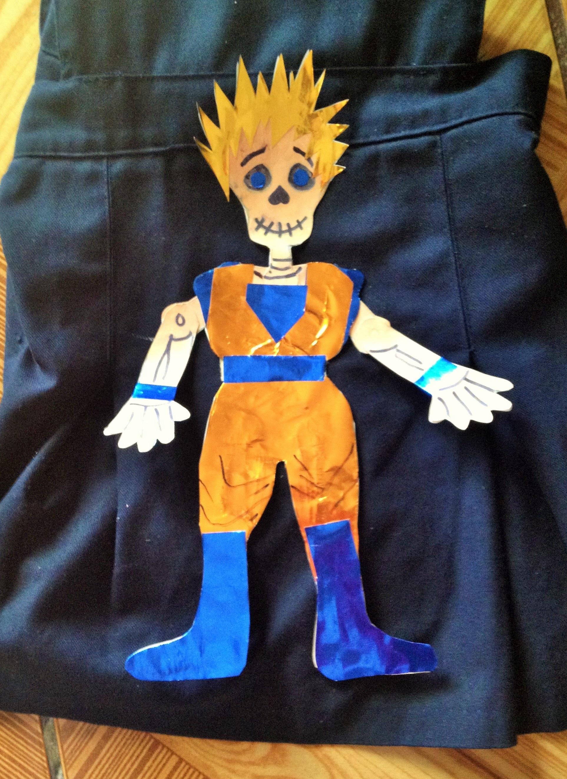 DIY decora calaverita papel Goku niño Dia de muertos Halloween  decorated paper skeleton