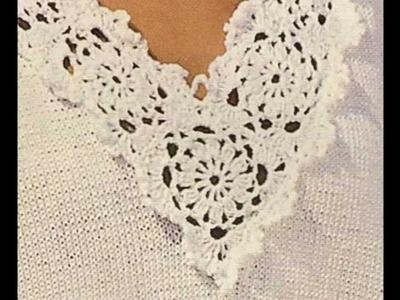 Jersey con cenefas a crochet