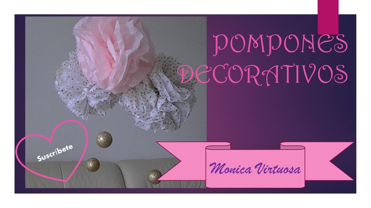 Pompones decorativos de papel