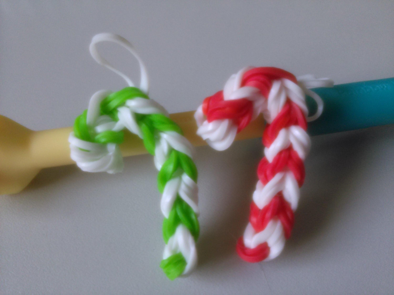 Bastón de Caramelo con Rainbow Loom (telar)