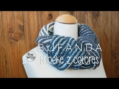 Bufanda-Cuello Unisex reversible tejida en punto Brioche dos colores