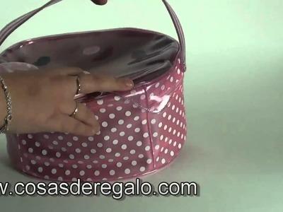 Demo Neceser grande transparente de color rosa con topos Hel