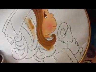 Pintura en tela niña graduación # 1 con cony