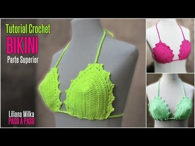 Como hacer un Bikini a crochet, parte superior, en todos los talles