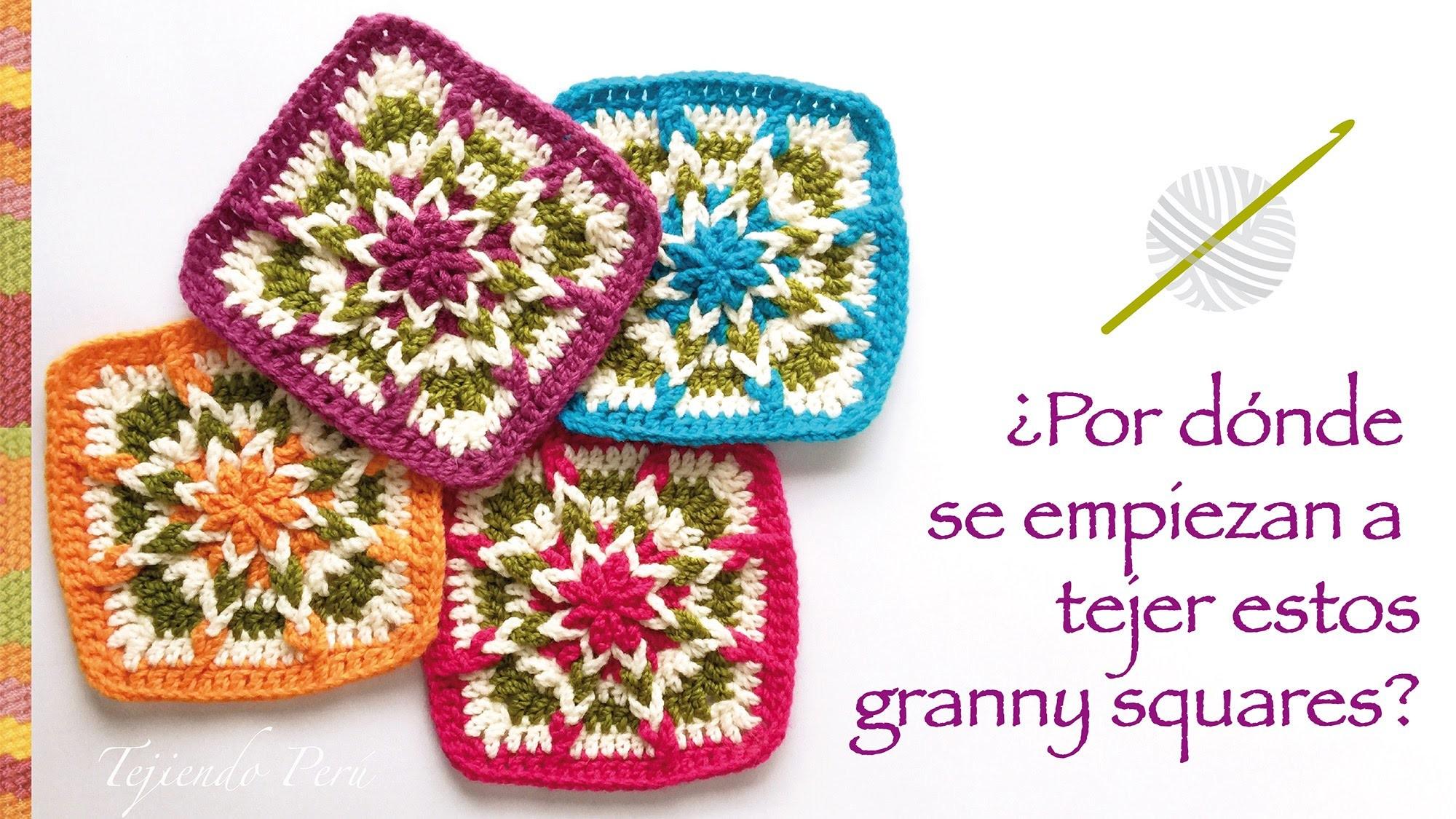 Crochet: ¿por donde se empieza a tejer este cuadrado o granny square? Incluye diagramas ;)