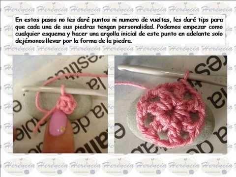 Marco con piedras a crochet
