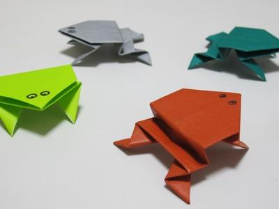 Rana saltarina de origami, como hacer rana de papel