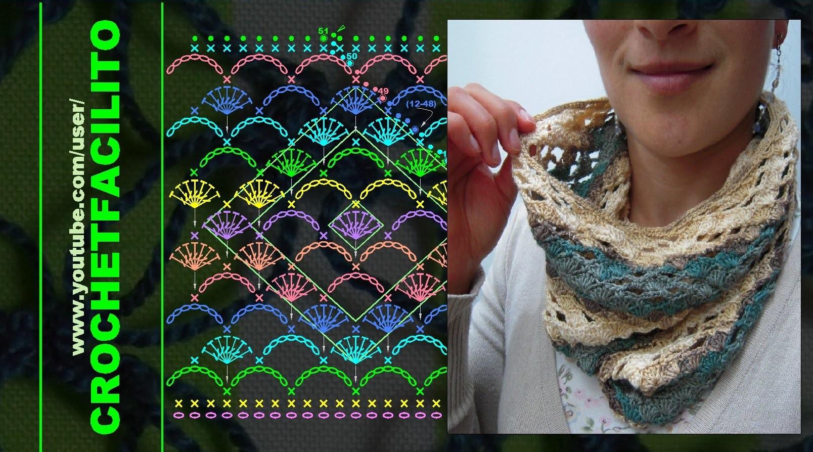CROCHET - 16.  UN CUELLITO CALENTADOR CON DIAMANTES - A DIAMOND STITCH NECK WARMER !!