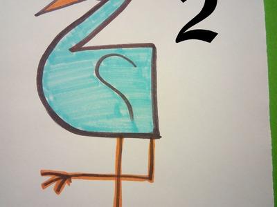 Manualidades. Aprende a dibujar con números: Garza o flamenco con el 2