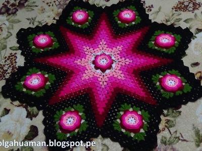 Tapete o Carpeta tejido a crochet paso a paso video 1
