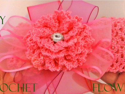 DIY flores a crochet diademas y moños - crochet flowers and headbands in ribbons