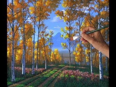 Como Pintar Un Bosque De Alamos Con Acrilicos Liquitex Sobre Tela Artista Leccion Arte