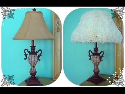 Como redecorar un shade de lampara con filtros de café. Manualidades fáciles y económicas.