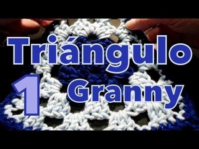 Cómo tejer triángulo clásico (granny's square) reeditado -tejido para zurdos-
