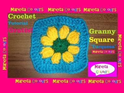 "Crochet Tutorial Flor en Granny Square ""Turquesa""  por Maricita Colours"