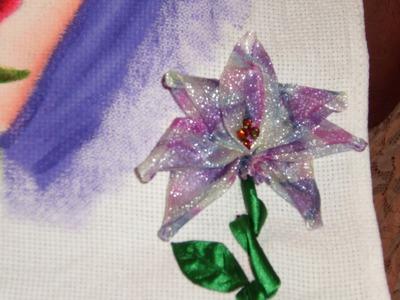 DIY Cómo hacer una orquídea bordada en listón o cintas