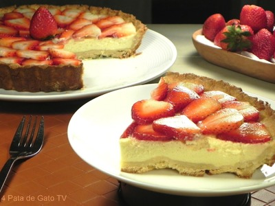 Pay de Queso con Fresas. Cheese and Strawberries Pie