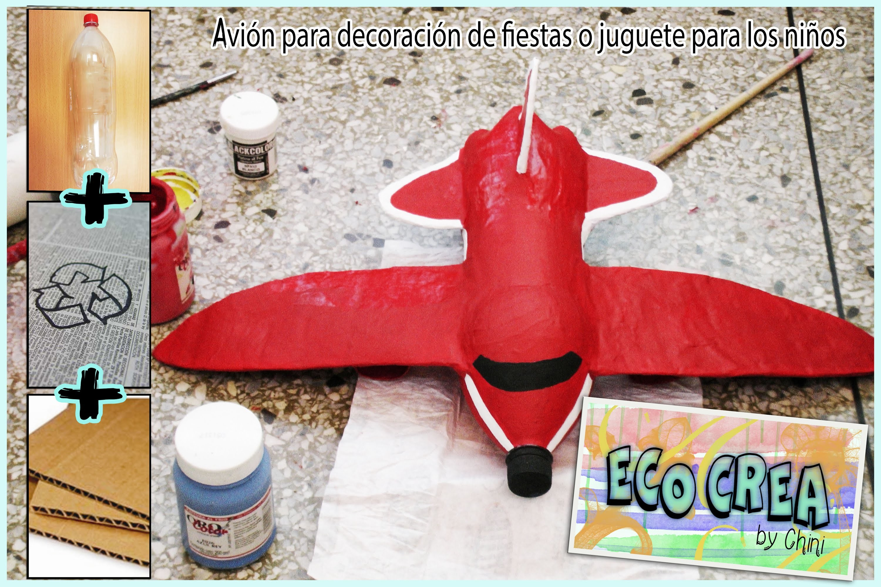 Avión con material reciclado (Botellas PET)
