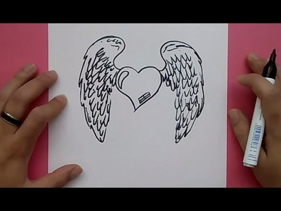 Como dibujar un corazon con alas paso a paso 3 | How to draw a winged heart 3